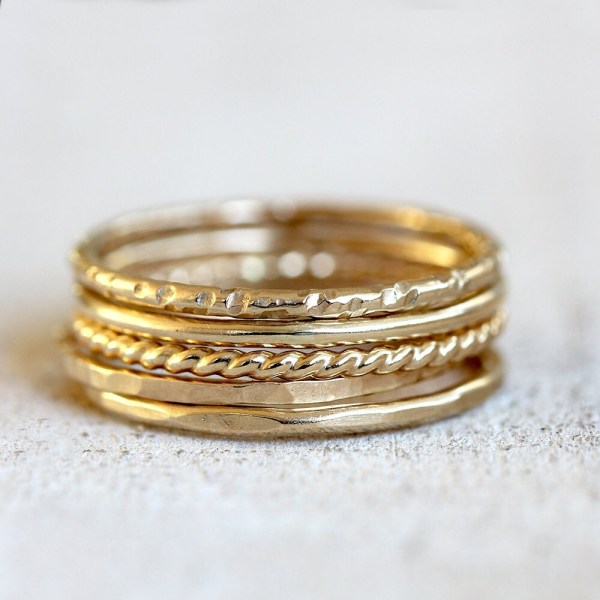 Gold Stacking Rings 14k Set Of 5