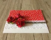 Unique fabric cards with envelopes - set of 2 postcards thanks card greeting card - red white polka-dotted - lace flowers-europeanstreetteam - InghettaDesign