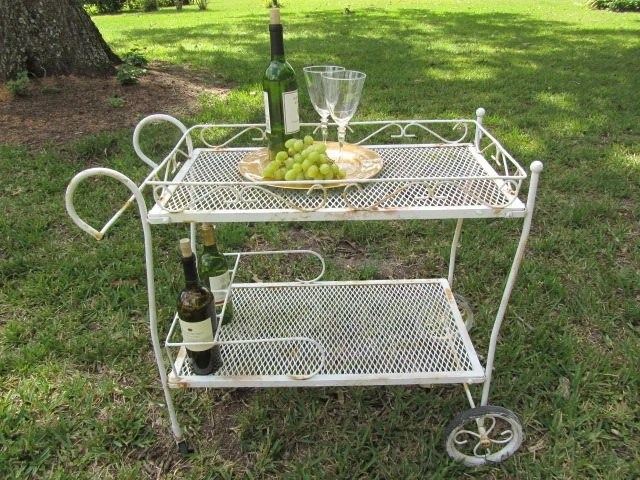 Vintage tea trolley metal cart shabby chic furniture garden cart iron cart metal tray rolling - Garden furniture shabby chic ...