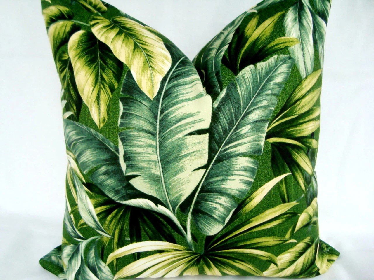Tropical Palm Leaves Decorative Designer Green Printed Fabric