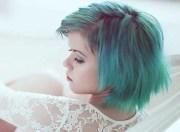 light blue green hair chalk