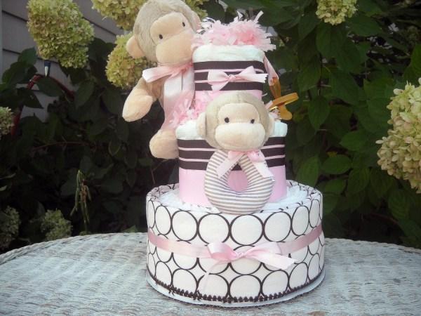 Monkey Theme Diaper Cake Girl Themed