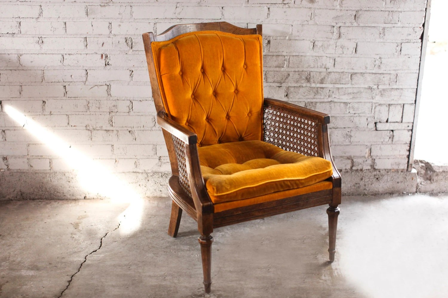 Vintage Orange Velvet Tufted Cane Accent Chair