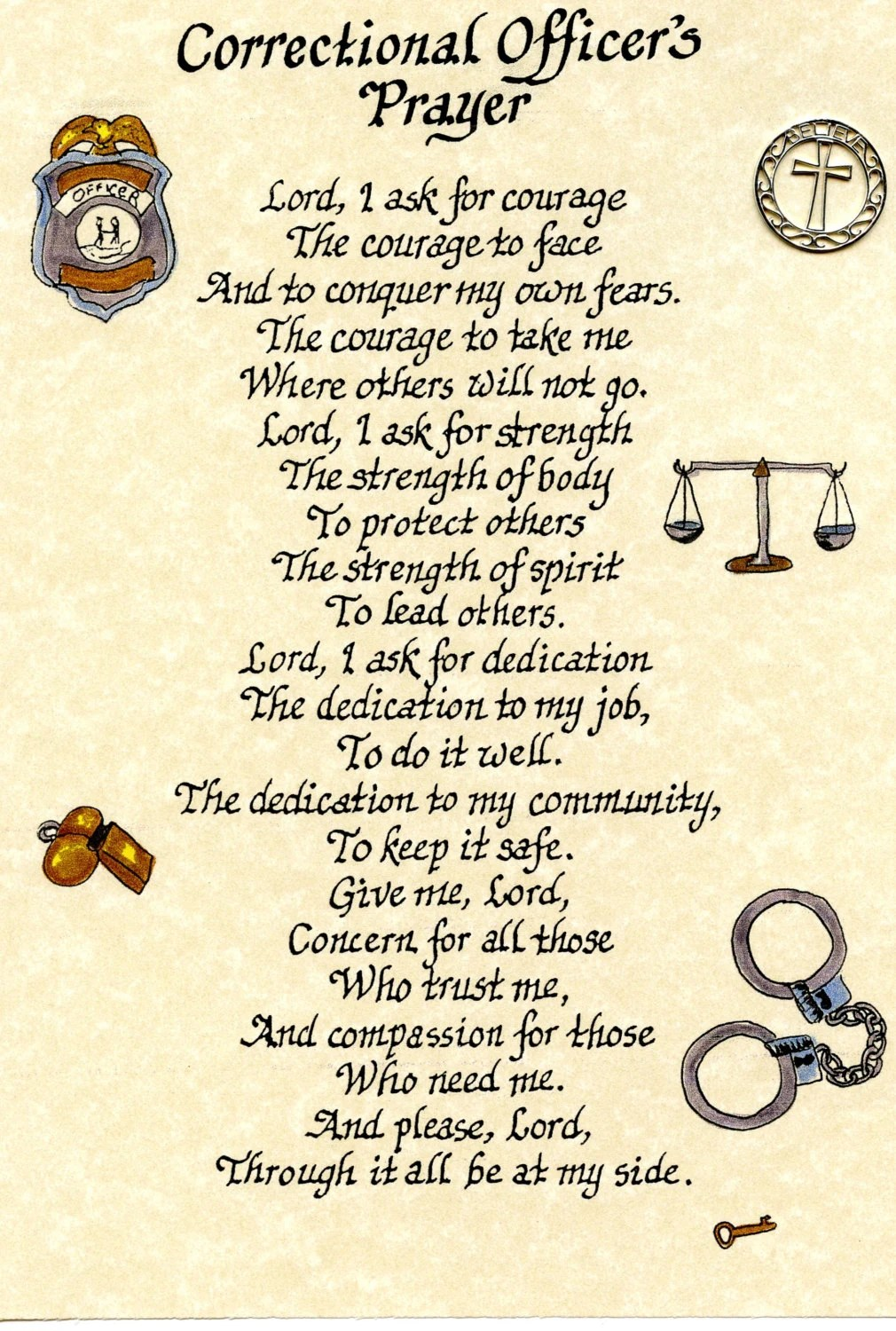 Items Similar To Correctional Officers Prayer 8x10