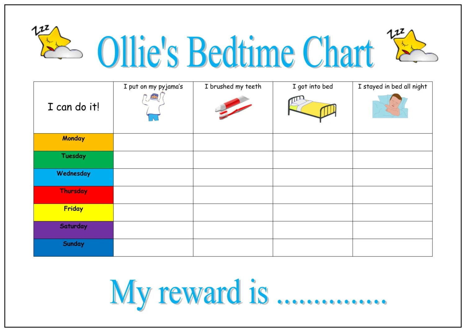 Printable Bedtime Routine Chart Personalised By Chartsforkids