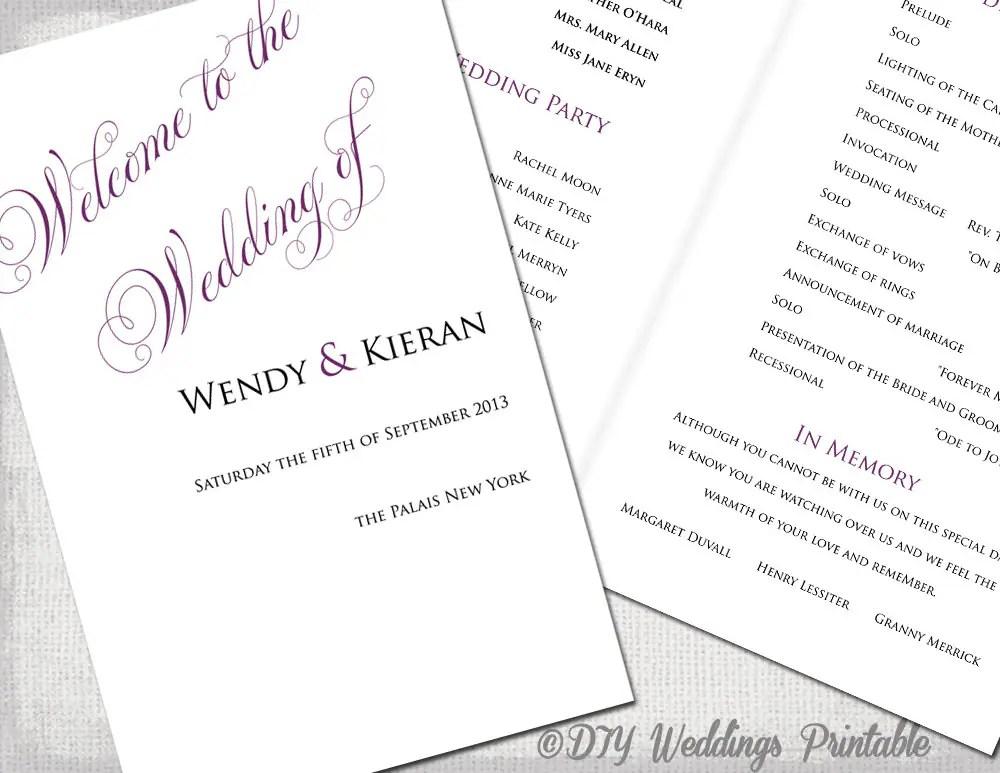 Printable wedding program template Plum DIY order of ceremony
