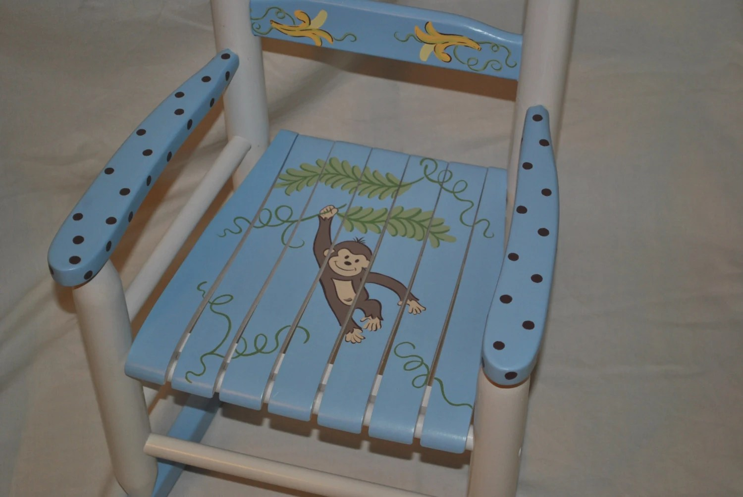 Toddler Boy Chair Kids Rocking Chair Boys Monkey With Bananas Baby Shower