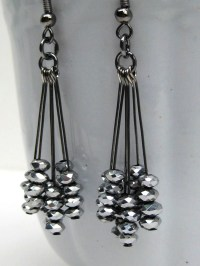 Black Dangle Earrings Silver Sparkly Earrings New Year's