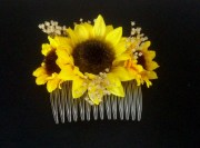 sunflower wedding hair accessory