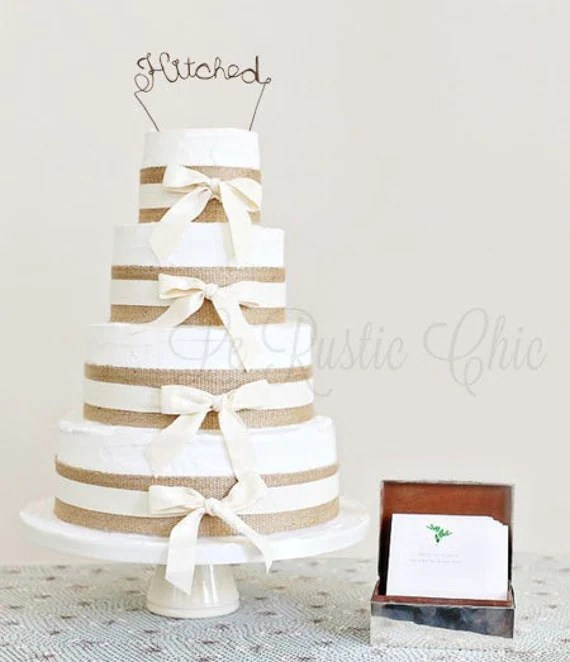 Wedding Cake Topper - Wire Cake Topper - Hitched Cake Topper - Personalized Cake Topper - Rustic Chic Cake Topper - Name Cake Topper