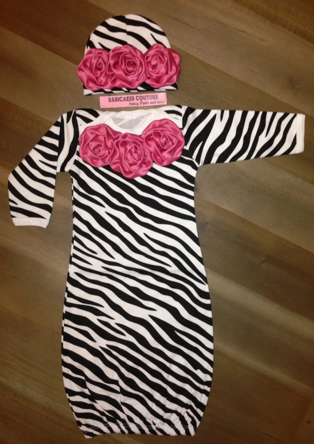 Newborn Girl Take Home Outfit Couture Hot Pink Satin Rosette