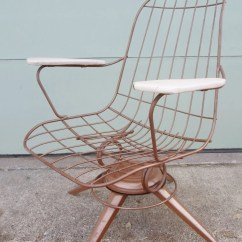 Mid Century Modern Wire Chair School Bus Table And Vintage Eames Era Gold Metal