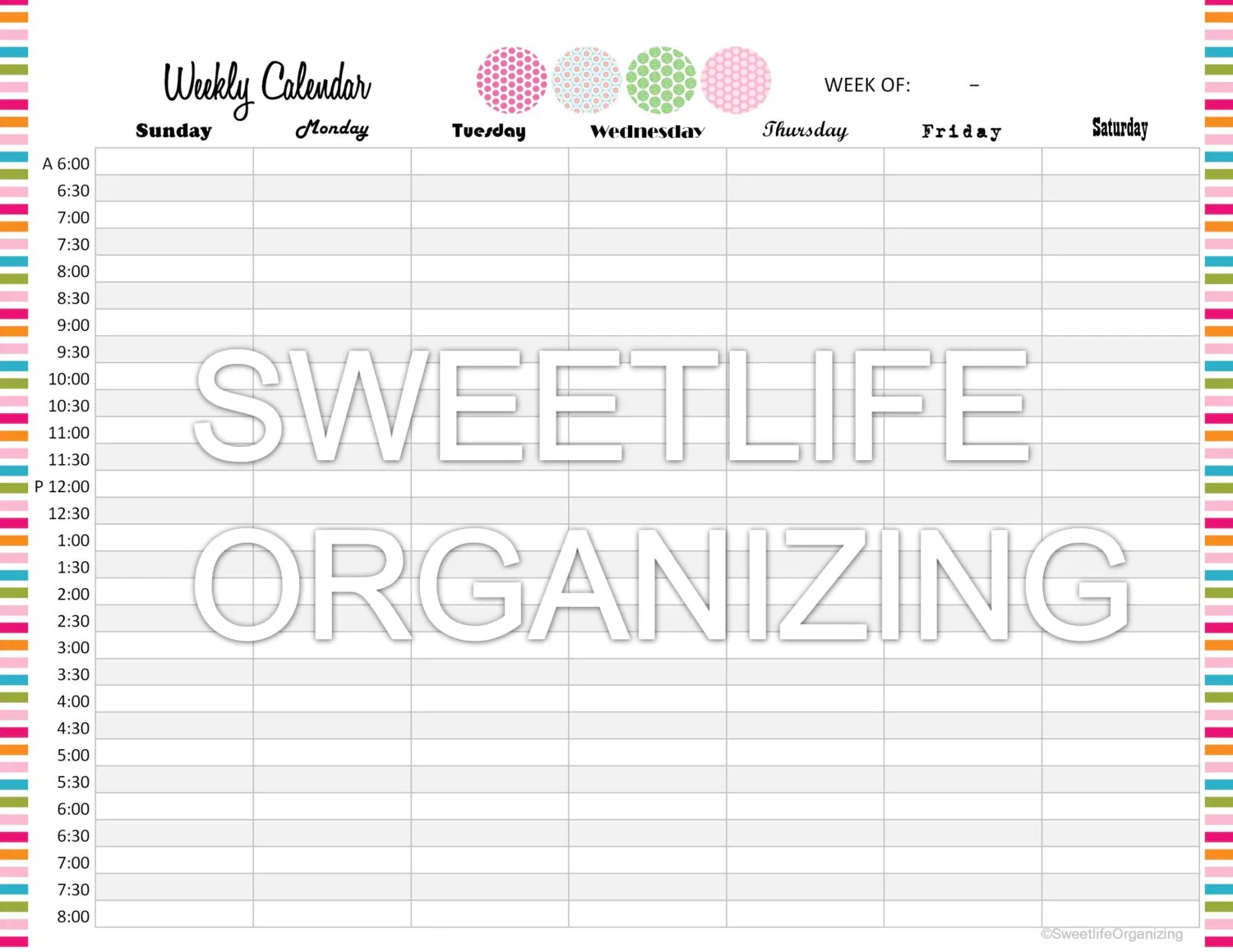 Weekly Appointment Calendar Organizing By Sweetlifeorganizing