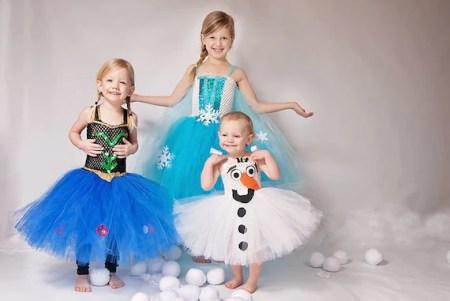 Déguisement de la reine des neiges: Elsa, Anna et Olaf