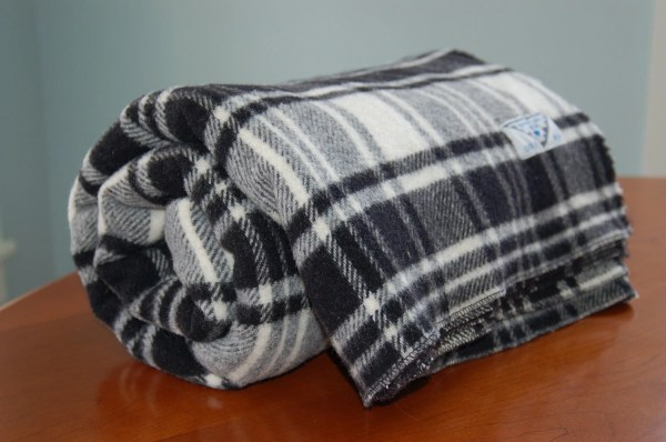 Large Black White Tartan Plaid Wool Blanket