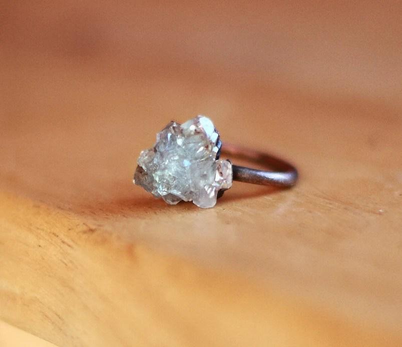 Raw Crystal Ring Celestite Ring Raw Stone Ring Blue Gemstone