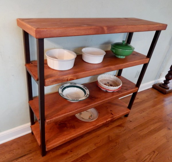 Handcrafted Wrought Iron Bakers Rack With 4 Wood Shelves