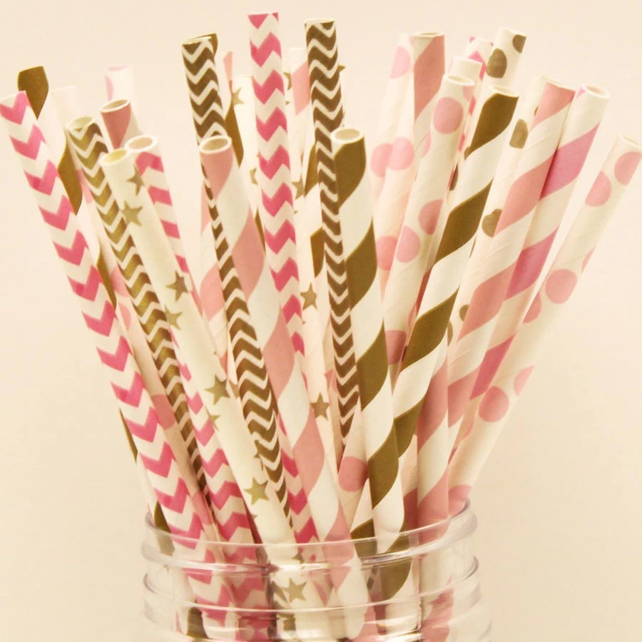 Paper Straws 25 Pink  Gold Paper Straws Blush Pink and