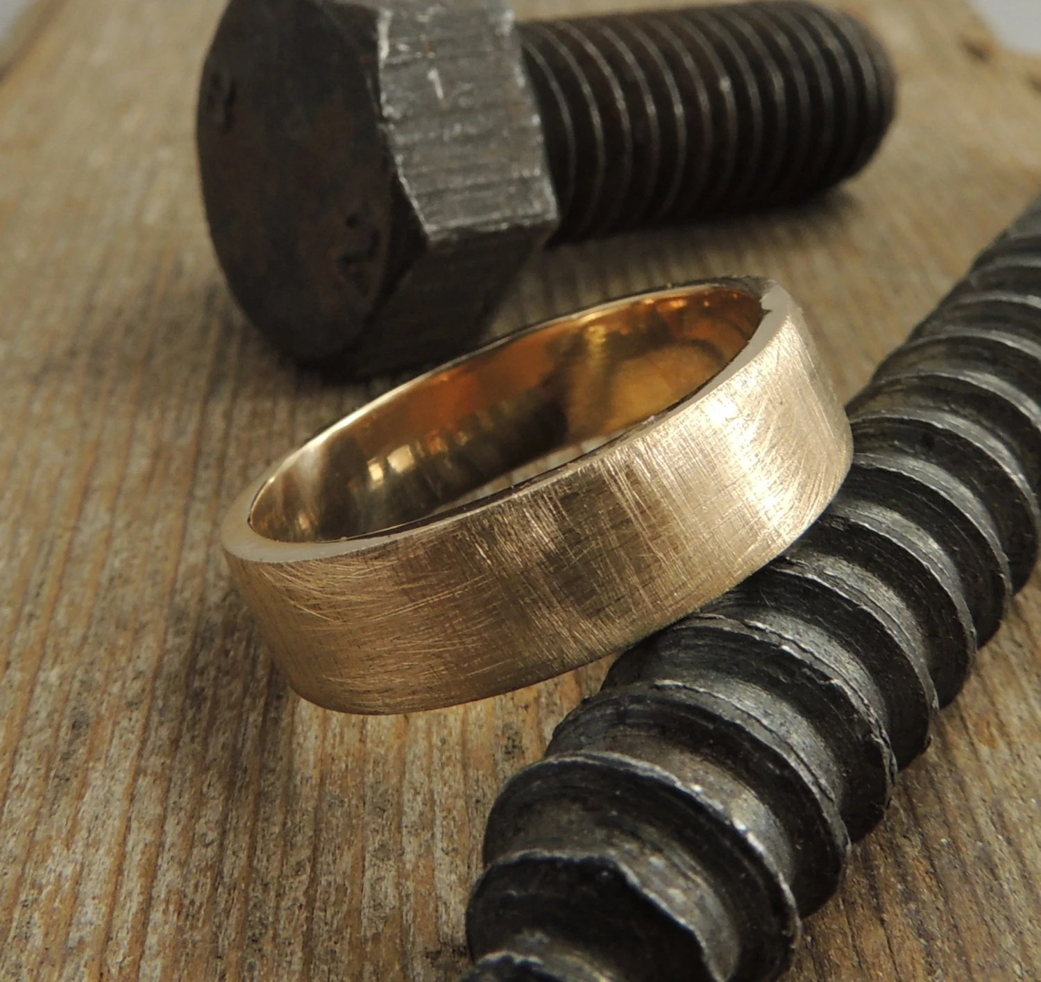Recycled 14k Gold Mens Wedding Band Brushed Gold Gold Mens