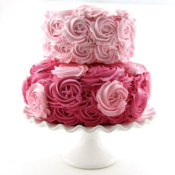 Pink Amp Hot Pink Rosette Fake Cake Stackable 2 Tier Cake Bottom