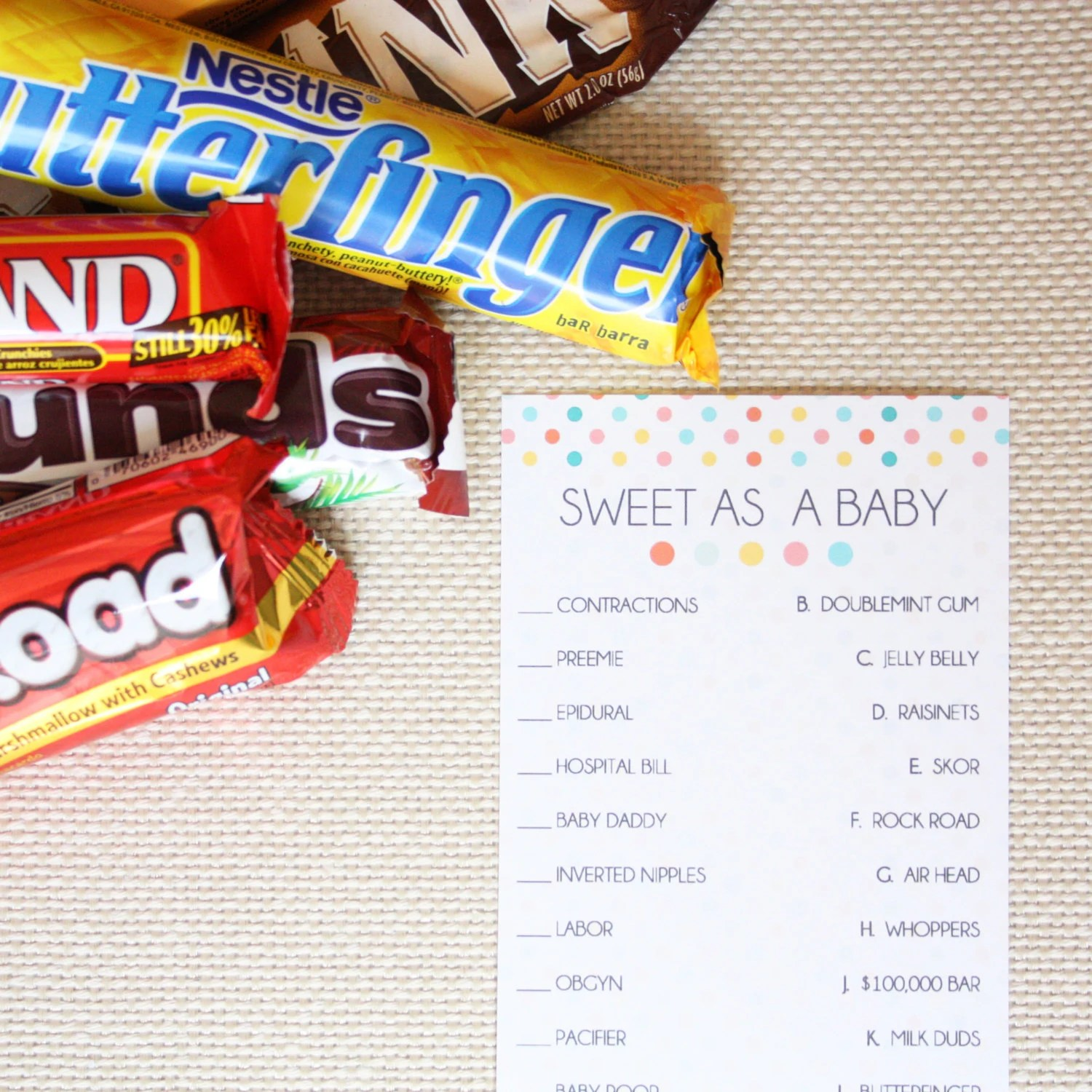 Sweet As A Baby Candy Match Game