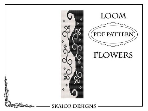 Two Tone Loom Bead Pattern Flower Square Stitch Loom