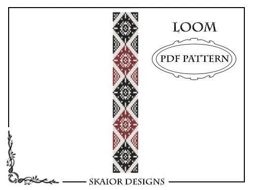 Loom Beading Pattern Gothic Loom Bracelet Tribal Geometric