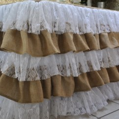 Burlap Chair Covers For Sale Sofa Massage Lace Ruffle Tablecloth