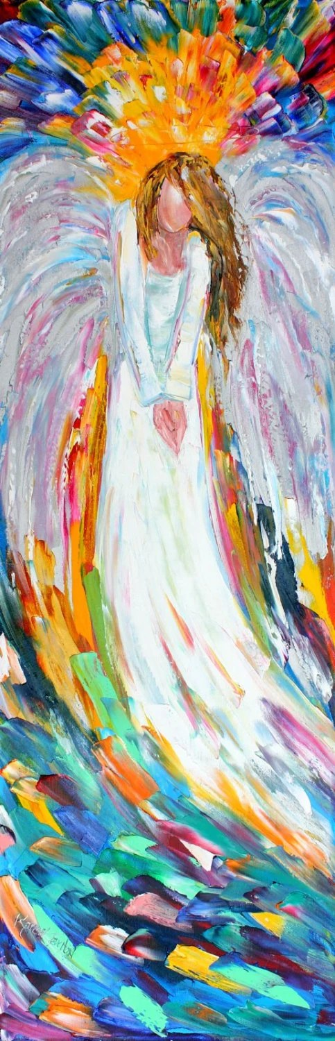 Original Oil Painting Angel Above Palette Knife Impasto