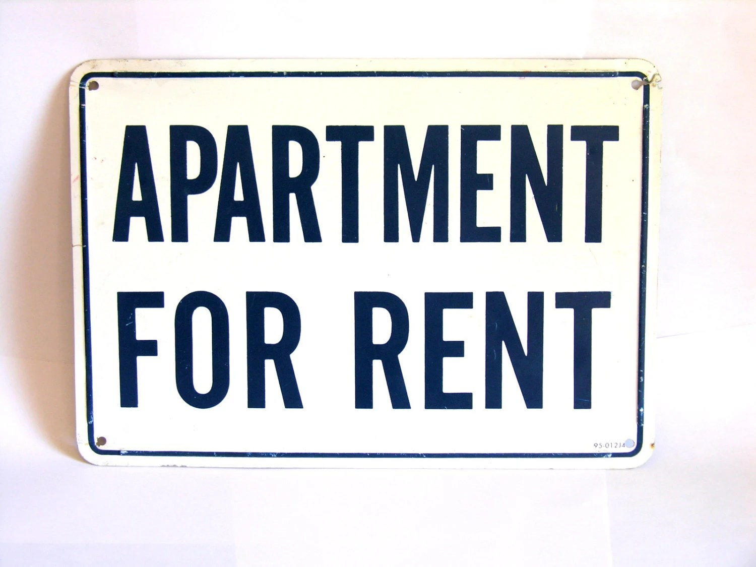 Vintage Metal Apartment for Rent Sign Cobalt Blue White