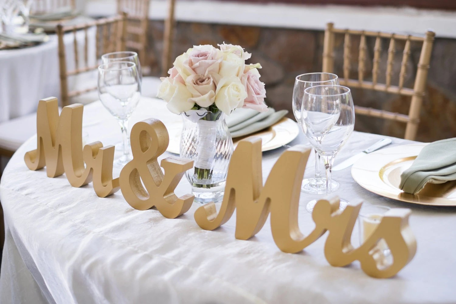 Items Similar To Gold Mr And Mrs Wedding Signs Table Signs