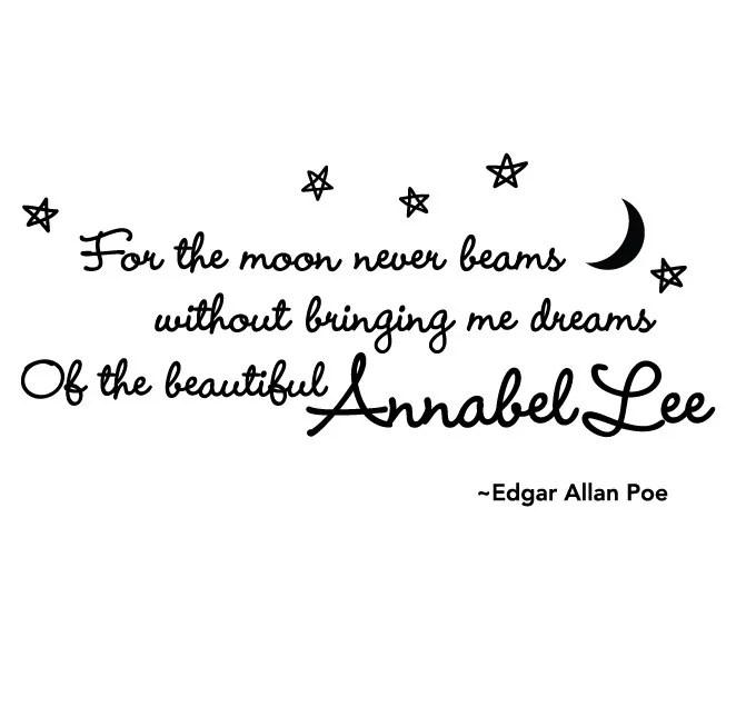Annabel Lee Edgar Allan Poe Quote Vinyl Wall Decal Wall