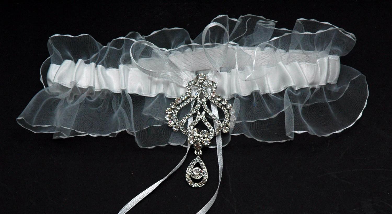 Wedding Garter Bridal Garter Belt White Lace Crystal Garter