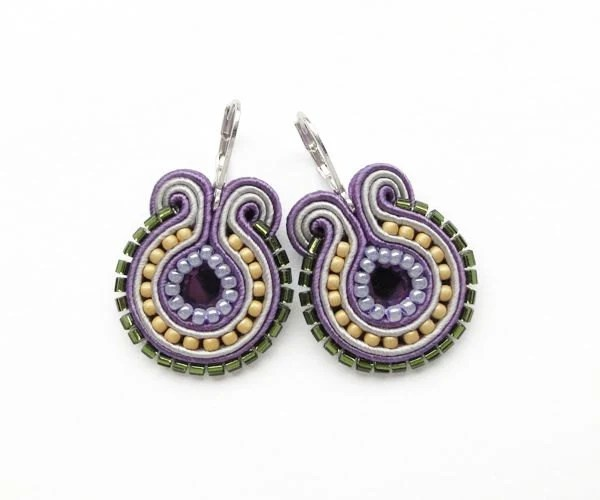 SALE - Purple, Olive Green and Mustard Yellow Soutache Round Earrings - mintESSENCE