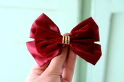 wine red satin hair bow.retro