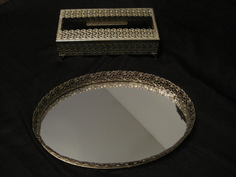 Vintage Gold Tone Metal Framed Oval Mirror Vanity Tray