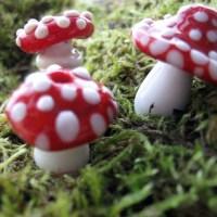 Handmade lampwork glass beads mushrooms from TheHokeyPokey ...
