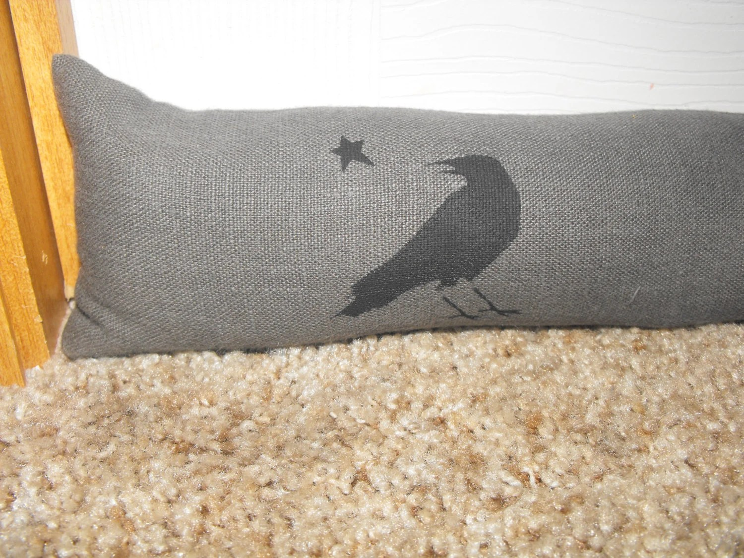 Door Draft Stopper Charcoal Gray Crow Or By