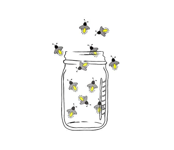 Mason Jar Image Fireflies Lightning bugs Digital
