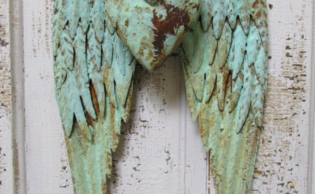 Angel Wings Wall Decor With Heart Shabby Chic By