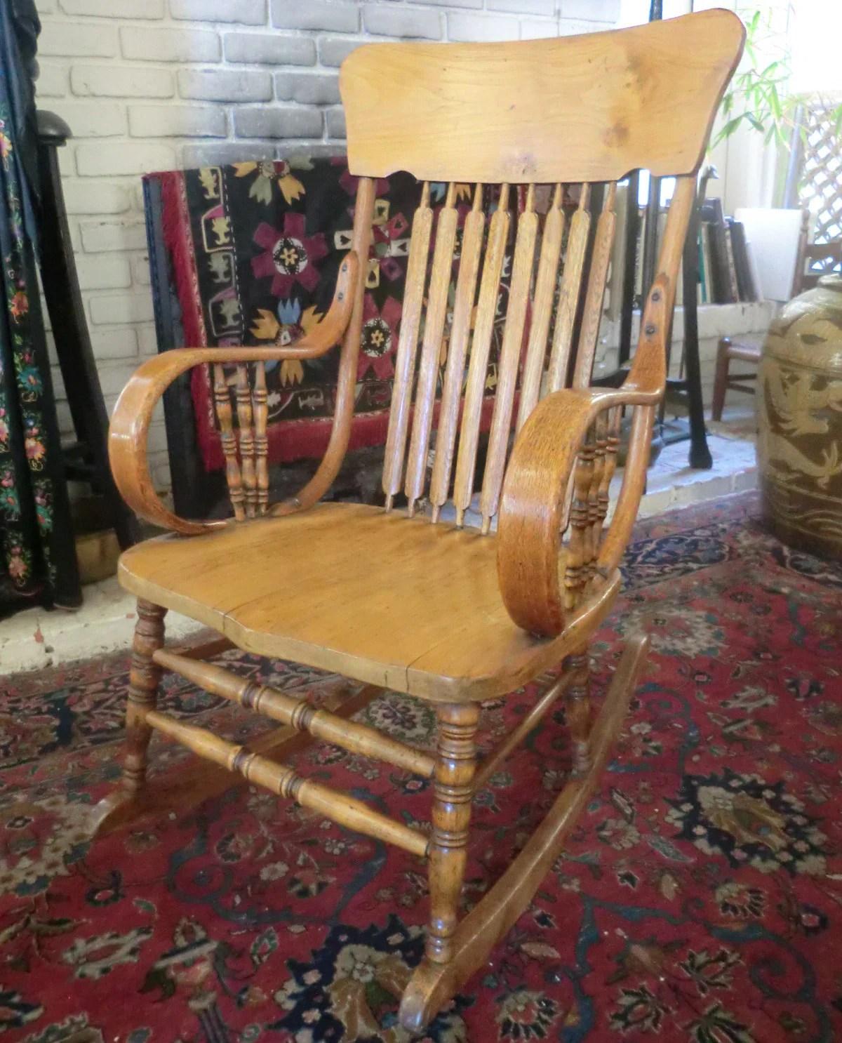 bent wood rocking chair black and white paisley antique oak bentwood rocker