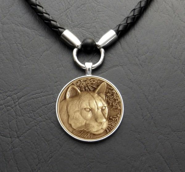 Cougar Mountain Lion Wildlife Medallion Pendant