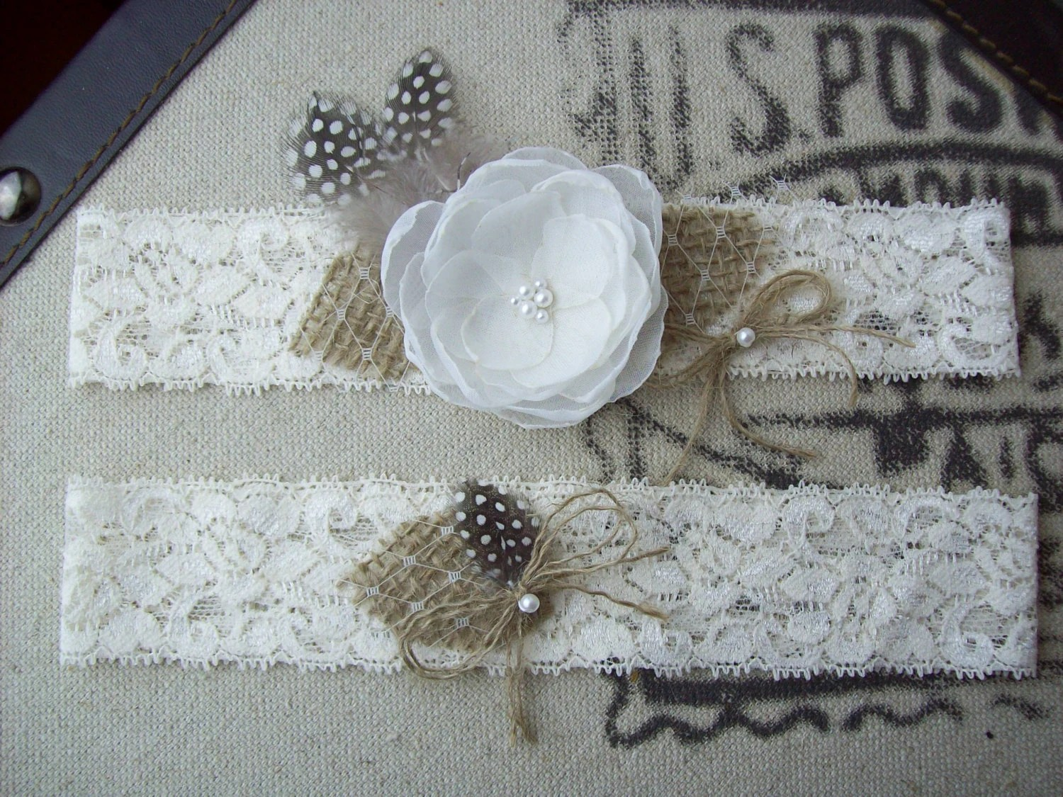 Rustic Country Chic Wedding Garter SetBurlap Wedding Garter