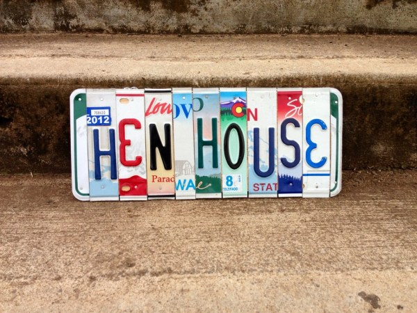 Chicken Coop Sign. Coop. License Plate Art. Hen House. House Sign