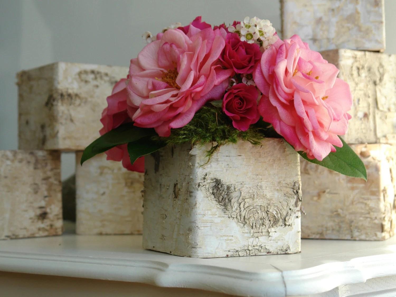 Birch Bark Vases Wood Boxes Square Wedding Flower Pot