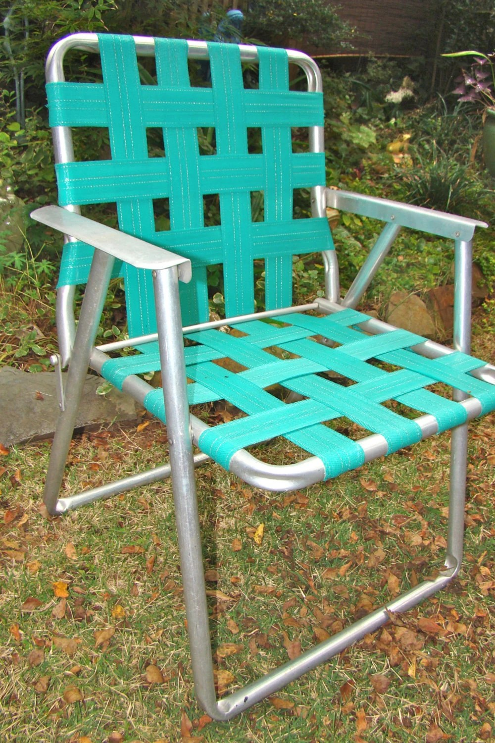 aluminum webbed lawn chairs office chair ergonomic chair. folding. webbed. rv. teal. vintage