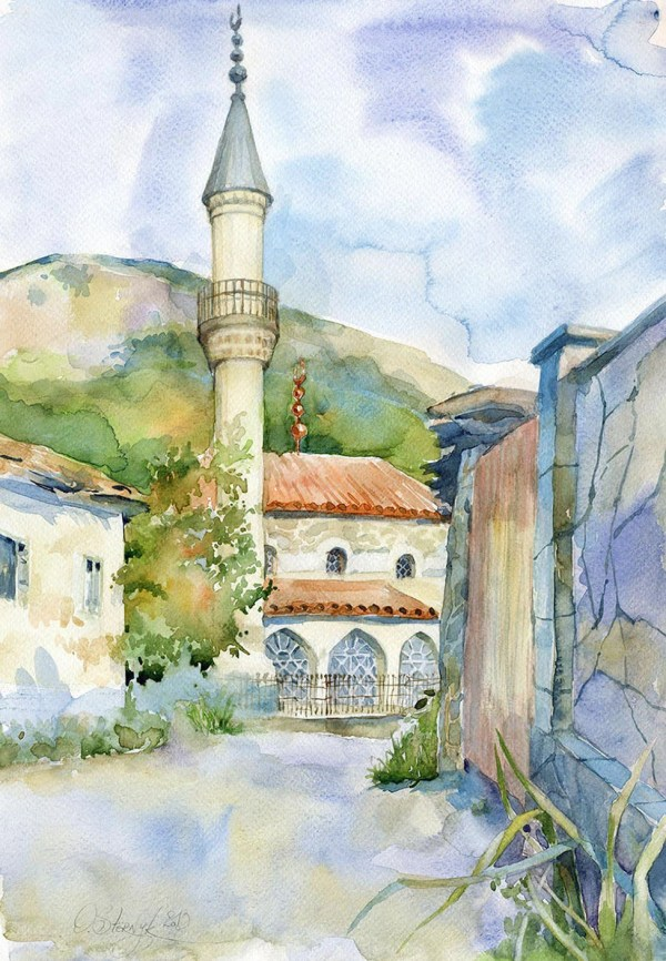 Architecture Watercolor Painting Original Mosque