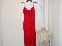 Red Lace Evening Gown Red After Five Dress Red Christmas