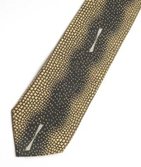 Vintage Men's Skinny Tie gold and black with white by