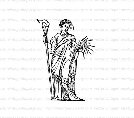 Ceres Goddess Vector Clip Art Graphic Instant Download